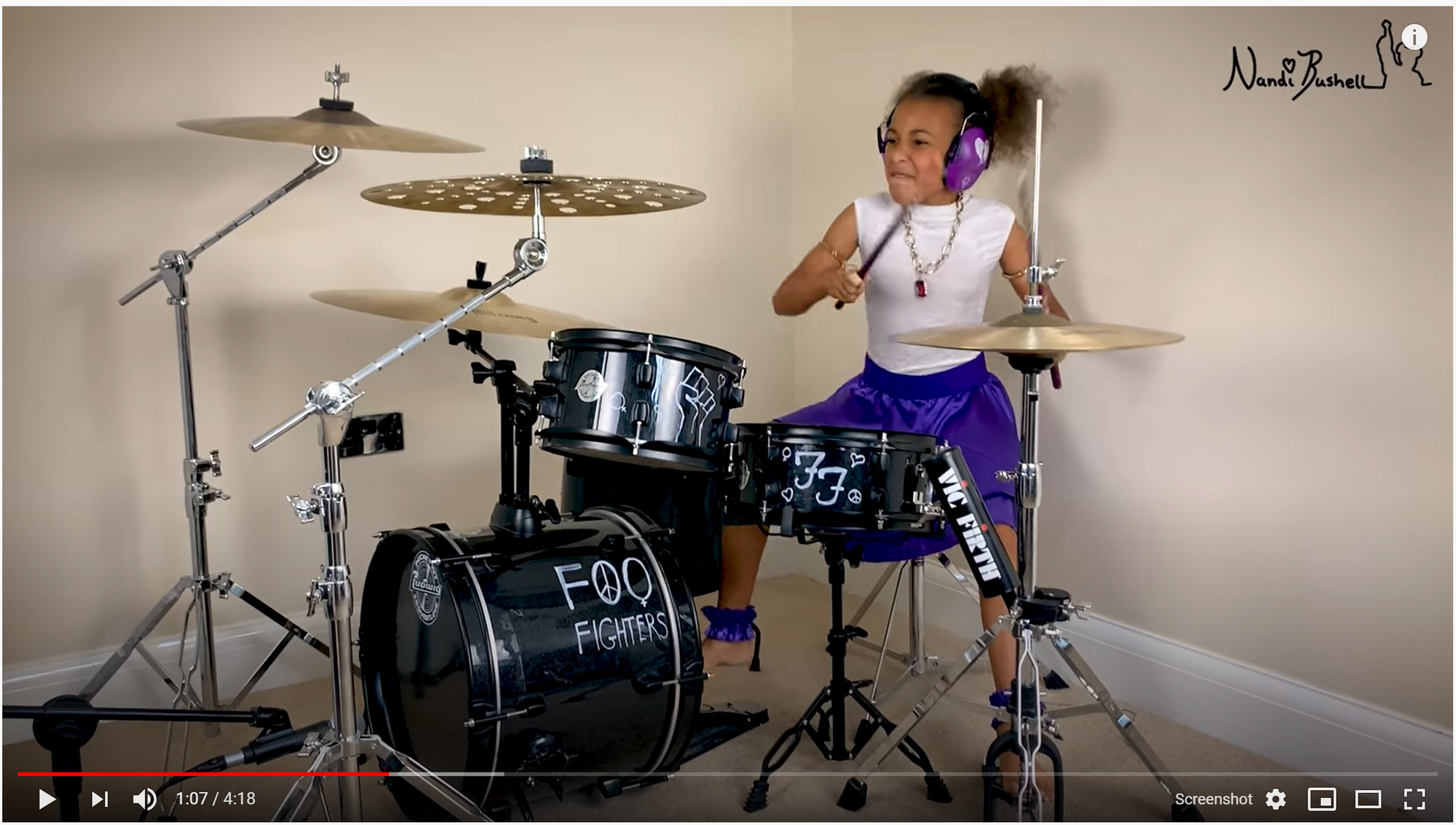 10 year old girl playing drums