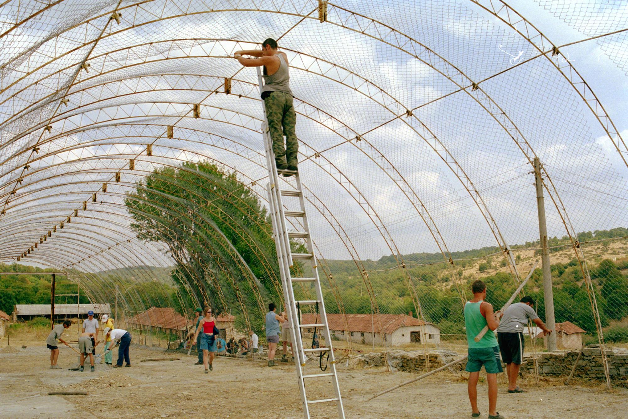 people constructing aviary